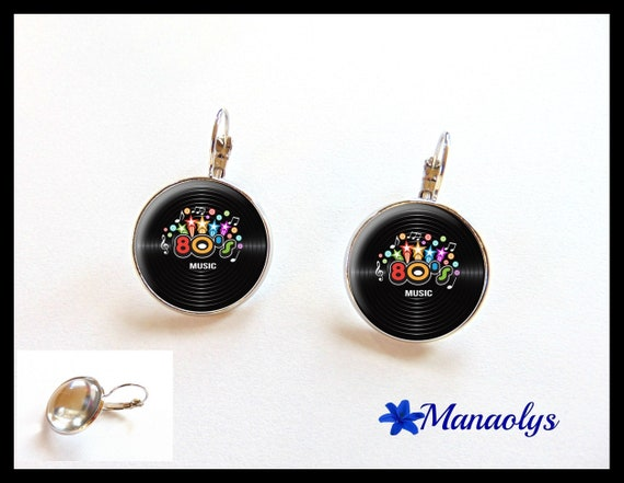 Earrings sleepers 80s music, 2253 glass cabochons