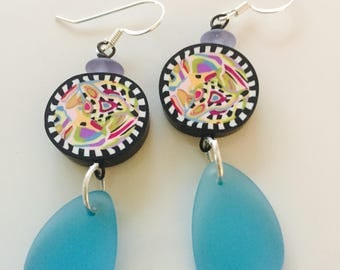 Aqua Black Crazy Earrings
