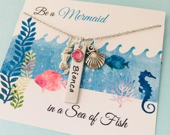 Mermaid Necklace, Mermaid Jewelry, Personalized Mermaid Necklace, Mermaid Name Necklace, Mermaid Party