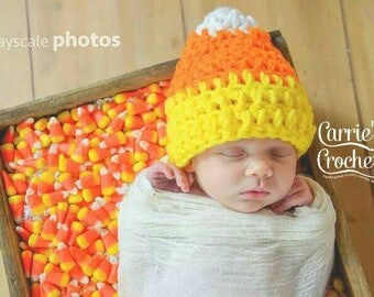 Ready To Ship! -- 1-4yr Crochet Chunky Candy Corn Hat