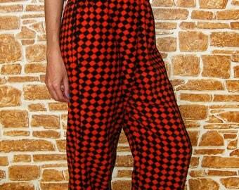 Unisex Red and Black Fleece Pants
