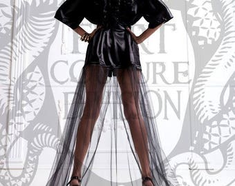 Satin Tulle Long Black or Red Robe Dressing Gown