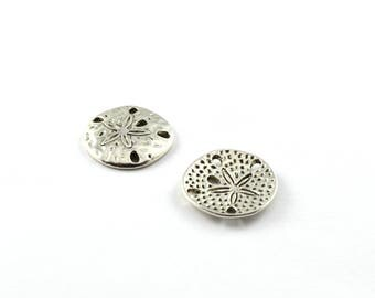 2 round connectors color antique silver plated
