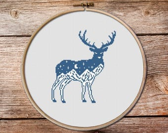 Deer Cross Stitch Pattern, deer, Wild Deer Cross Stitch pattern, modern cross stitch, mountains cross stitch, mountain embroidery #008