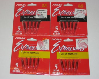 Vintage Christmas Light Replacement Bulbs, Noma Lights, 4 Pks NOS