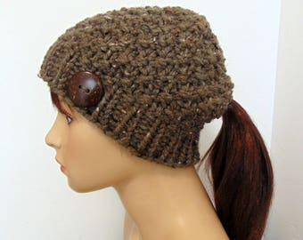 Knitted Ponytail Hat, Chunky Knit, Pontyail Beanie, Pony Tail Low Bun Hole Hat Gift for Her Taupe Tweed  Made in Alaska