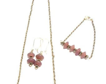 Pink Glass Beads Bracelet, necklace and earrings