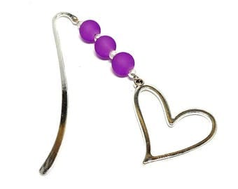 Silver jewelry, purple beads heart bookmark
