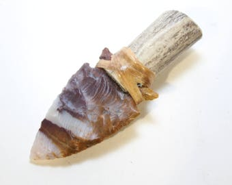 Polk-a-dot Agate Knife Blade Attached to Real Deer Antler Handle w/ Imitation Sinew Great Skinning/Neck Knife *Free Shipping*