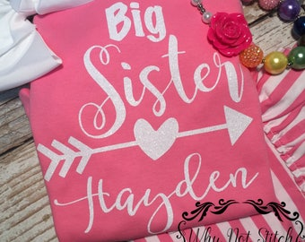 Personalized big sister shirt, custom big sister announcement shirt, big sister to be, surprise pregnancy announcement, big sister gift from