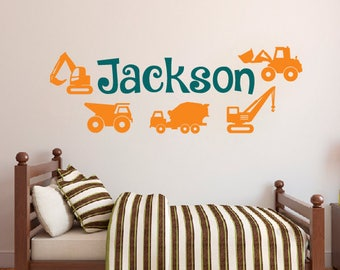 Truck Wall Decal - Personalized Name Wall Decal - Kids Room Decor - Boys Room Vinyl Wall Decal
