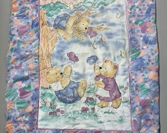Vintage 90s Teddy Bear Crib Comforter Baby Blanket Pastel Colors Tree Butterflies
