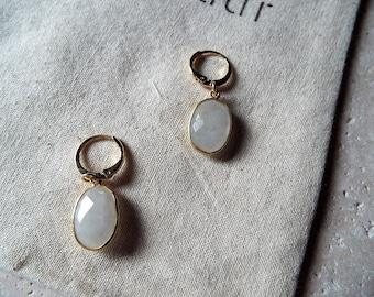 Goldfill Moonstone Earrings - Everyday Delicate Earrings