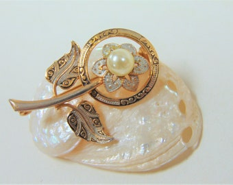 Damascene Brooch Floral Design Faux Pearl Detail Vintage Toledo Spain Made Costume Jewellery Gift Ideas