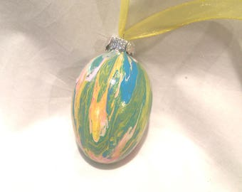 Acrylic Fluid Pour Hand Painted Glass Easter Egg Ornament Pink Blue Yellow
