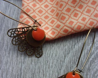 """orange lace collection """"Nasturtium"""" and their case (for pierced ears) vintage brass and enamel earrings"""