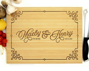Personalized Cutting Board, Custom Wedding Gift, The Bride and Groom, Decorative Border, Custom Cutting Board, Eco Friendly