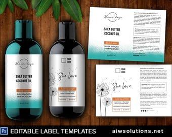 Modern Label, Product Label,Dandelion Label, Wild Flower Label Template,  8oz Label