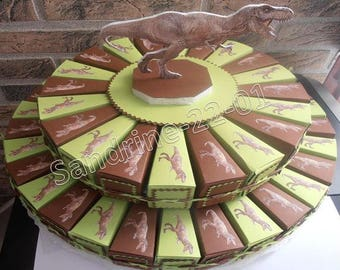 "50 cake boxes dragées ""dinosaurs"" choco Brown and lime green"