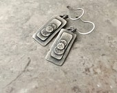 Rustic sterling silver earrings, hand stamped, silver layered earrings