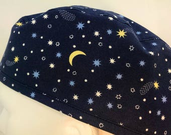 "Goodnight Moon Fitted Mens surgical surgeon's cap scrub caps hat Men OR surgery hat cap Lovenstitchies 23"" large Blue Stars Man scrub Cap"