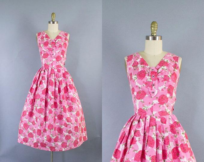 1950s Rose Print Dress/ Medium (35b/28w)