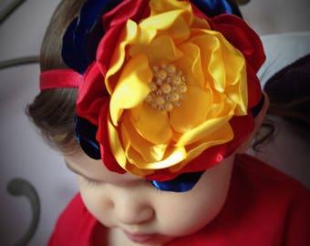Snow white Headband. Oversized Multi-Layered flower.Halloween costumes. 100% Handmade.