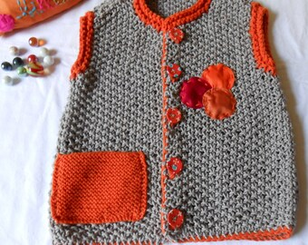 4t gray and orange cotton Cardigan hand knitted