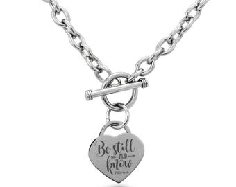 Stainless Steel Be Still & Know Psalm 46:10 Heart Charm, Necklace / Silver / Rose / Gold