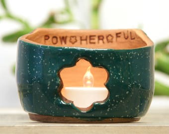 Sale Hand Thrown Pottery POW HER FUL Candle Holder/Bowl Girl power teenage bedroom teen gift Strong woman Flower tween
