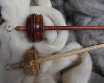 Distinctive Drop Spindle kit with Grey and Cream fibre