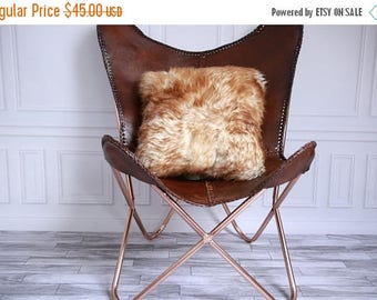ON SALE Real Sheepskin Pillow Sheepskin Cushion Brown Pillow