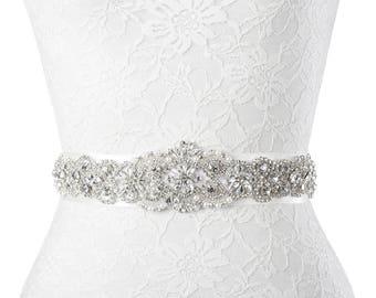 Bridal Crystal Beaded with Satin Ribbon Wedding Sash Belt