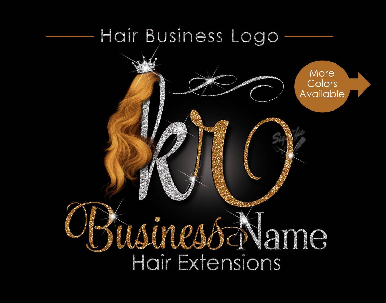 hair extensions business logo glitter logo honey gold