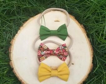 Nylon bow headband set - nylon headband set - bow set - dark green bow - mustard yellow bow - floral bow - baby girl headbands - baby bows