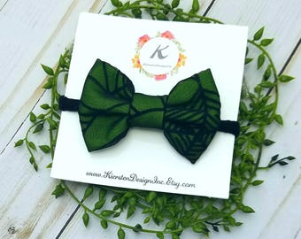Green spider web bow, halloween hair bows, baby girl headbands, nylon headbands, halloween headbands, baby hair bows, fabric bow, hair clip
