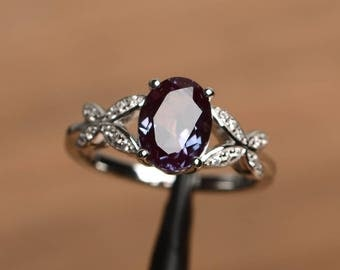 alexandrite ring alexandrite engagement ring June birthstone oval cut gemstone sterling silver color changing gems