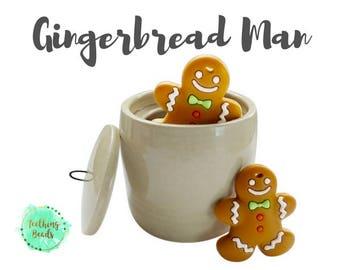 Christmas Gingerbread Man Teether   Wholesale Silicone Bead  Teether   Chew Beads   Christmas Gift   Holidays   Bulk Loose Silicone Bead