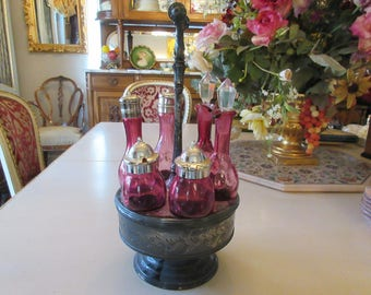 ANTIQUE CRANBERRY GLASS Cruet Set