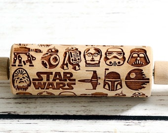 Star Wars - Mini Rolling Pin, Embossing rolling pin, Laser engraved rolling pin, Cookies decorating roller