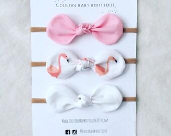 Pink White Flamingo Nylon Bows / Baby Toddler Girl Bow Set / Baby Headband / Hair Clips / Baby Shower Gift