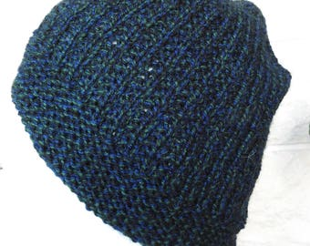 Hand Knitted Men's Beanie Style Black Watch Winter Hat - Free Shipping