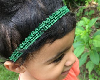 Emerald green infant headband/toddler headbands/infants/hair accesories