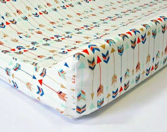 Tribal Baby Contour Changing Pad cover , Aztec tribal baby Nursery, Arrows Changing Pad Cover