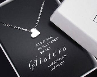 Sister Gift Sterling Silver Sister Necklace, Tiny Heart Necklace, Gift for Sister, Big Sister, Sister Birthday Gift, Sisters Gift