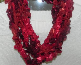Scarf necklace made of Red chenille yarn with crochet