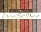 WINTER FELT paper, digital paper pack (brown, taupe, tan, beige, salmon, rose, pink, lilac, gray blue) digital felt paper, scrapbook felt