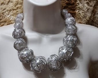 SALE Huge Statement Faux Pearl Caged Silver Tone Necklace Choker