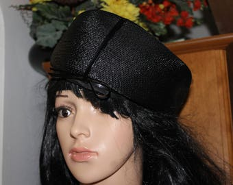 HUGE SALE Vintage Rafield Hats of Character, Size 22, Label still inside, See Pictures, It is all black and Elegant