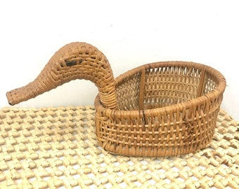 Wicker Duck Basket Planter // Vintage // 1980s